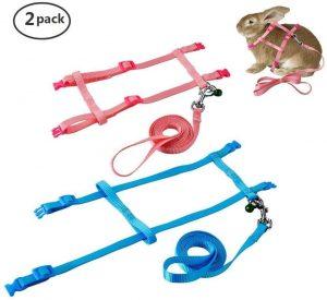 2 Pack Pet Rabbit Harness Leash for Soft Nylon